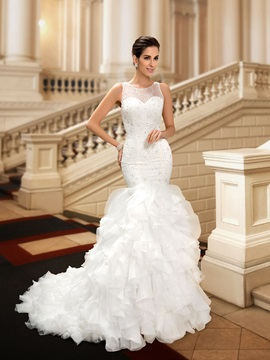 Beaded Lace Ruffles Mermaid Wedding Dress