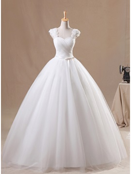 Flowers Straps Pleats Ball Gown Wedding Dress