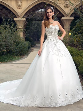 Dazzling Rhinestone Beaded Sweetheart Court Train Wedding Dress & Wedding Dresses under 300