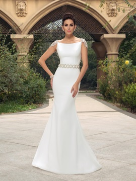 Elegant Cap Sleeves Backless Mermaid Long Wedding Dress & fairy Wedding Dresses