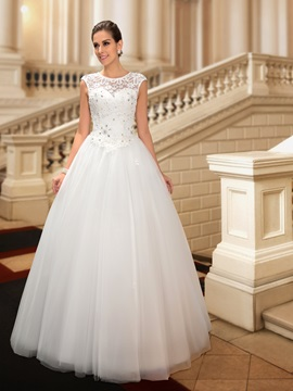 Graceful Beaded Lace Jewel Neck Floor Length Wedding Dress & Wedding Dresses for sale