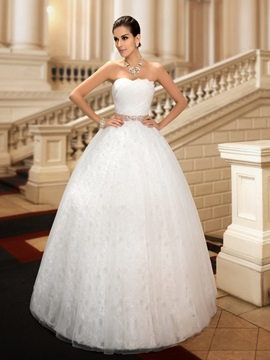 Dazzling Beaded Strapless Floor-Length Ball Gown Lace Wedding Dress & Wedding Dresses for less