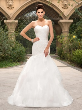 Dazzling Strapless Sweetheart Lace Bodice Mermaid Wedding Dress & Wedding Dresses under 300