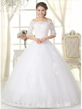 Classic Lace Appliques Off the Shoulder Long Sleeve Ball Gown Wedding Dress & discount Wedding Dresses