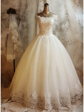 Shiny Lace Appliques Off the Shoulder Cap Sleeves Wedding Dress & unusual Wedding Dresses