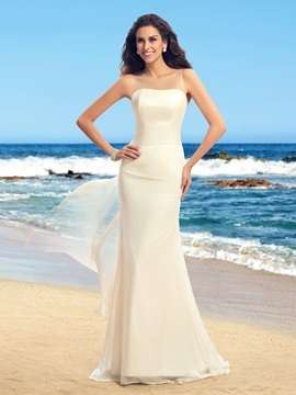 Simple Style Strapless Floor Length Sheer Back Watteau Train Wedding Dress & Wedding Dresses 2012