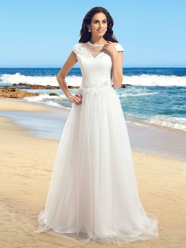 Jewel Neck Short Sleeve A-Line Tulle Wedding Dress & colored Wedding Dresses