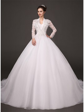Dazzling Beaded V-Neck Puffy A-Line Sheer Lace Long Sleeve Wedding Dress & inexpensive Wedding Dresses