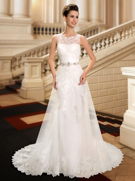 Delicate Straps Lace Appliques Beaded Waist Wedding Dress & fashion Wedding Dresses