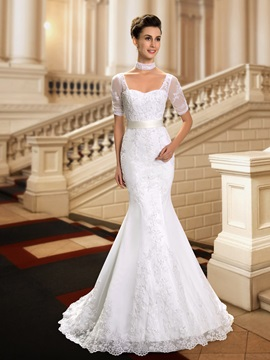 Sweetheart Beaded Lace Appliques Short Sleeve Mermaid Wedding Dress & affordable Wedding Dresses