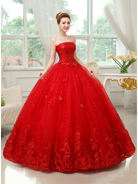 Strapless Floor Length Red Ball Gown Wedding Dress & Wedding Dresses under 100