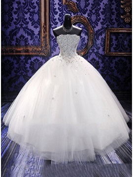 Strapless Beaded Floor Length Ball Gown Wedding Dress & unusual Wedding Dresses