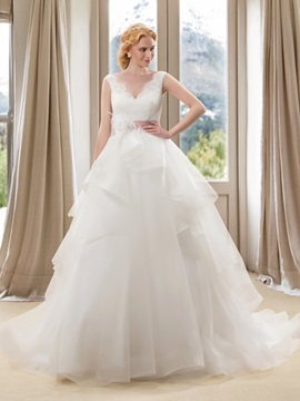 Fancy V-Neck Sequins Tiered Lace Wedding Dress with Satin Sash & Wedding Dresses under 500
