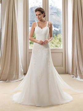 Elegant Lace Spaghetti Straps Floor Length A-Line Wedding Dress & colored Wedding Dresses