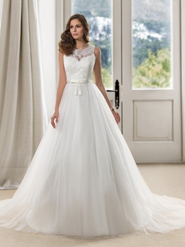 Eye-catching Scoop Neck Lace Button Zipper-up A-Line Wedding Dress & simple Wedding Dresses