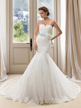 Sweetheart Floral Mermaid Wedding Dress with Satin Sash & attractive Wedding Dresses