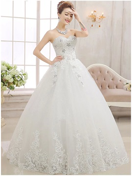 Stunning Sweetheart Beaded Appliques Ball Gown Wedding Dress & attractive Wedding Dresses