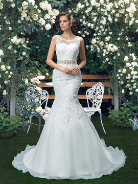 Scoop Neck White Organza Mermaid Wedding Dress with Rhinestone Beaded Sash Ribbon & Wedding Dresses under 500