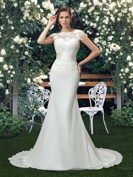 Lace Jewel Neck Short Sleeve Mermaid Wedding Dress & romantic Wedding Dresses