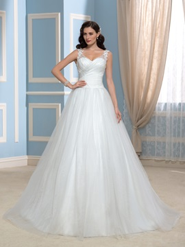 V-Neck Appliques Lace Tulle A-Line Court Train Wedding Dress & Wedding Dresses 2012