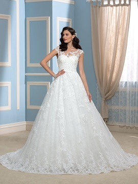 High Quality Appliques Lace A-Line Court Wedding Dress & attractive Wedding Dresses