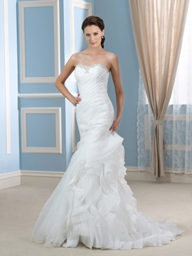 Sexy Beaded Sweetheart Ruched Bodice Ruffles Organza Mermaid Wedding Dress & formal Wedding Dresses