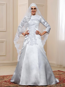 Budget Lace Appliques White Satin Long Sleeve Muslim Wedding Dress & discount Wedding Dresses