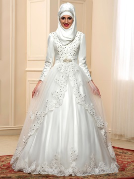 Modest Beaded Lace High Neck Long Sleeve Arabic Wedding Dress