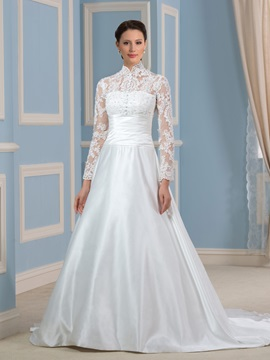 Modest A-Line High Neck Sheer Long Sleeve Button Satin Wedding Dress & informal Wedding Dresses