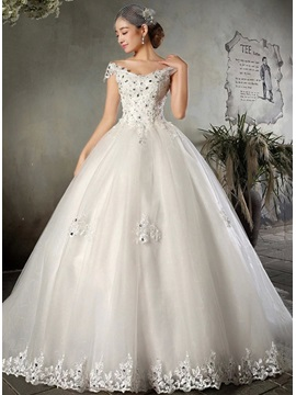 Beaded Appliques Ball Gown Wedding Dress & elegant Wedding Dresses