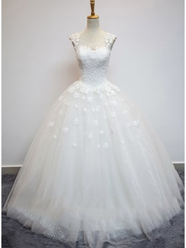 Gorgeous Sheer Lace Jewel Neck Princess Wedding Dress & attractive Wedding Dresses