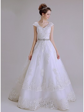 Floor Length A-Line Beaded Lace V-Neck Short Sleeve Wedding Dress & Wedding Dresses on sale