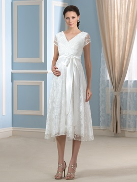 Tea-Length V-Neck Lace Cap Sleeve Short Maternity Wedding Dress & vintage style Wedding Dresses