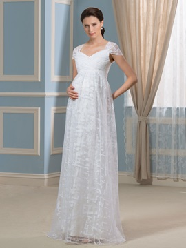 Cap Sleeve Pleats Lace Maternity Wedding Dress & Wedding Dresses from china