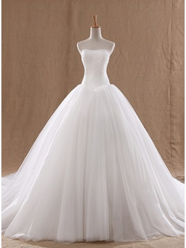 Pure Ball Gown Strapless Lace Top Wedding Dress & Wedding Dresses online