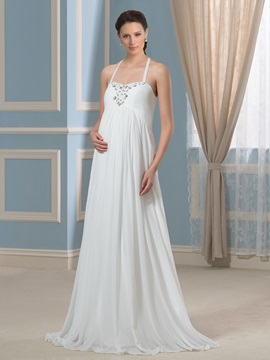 Halter Neckline Beaded Composite Silk A-Line Maternity Wedding Dress & inexpensive Wedding Dresses