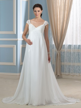 Lace Cap Sleeve Empire Chiffon Pregnant Maternity Wedding Dress & simple Wedding Dresses
