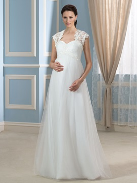 Spaghetti Straps Tulle Floor-Length Maternity Wedding Dress with Lace Jacket & quality Wedding Dresses
