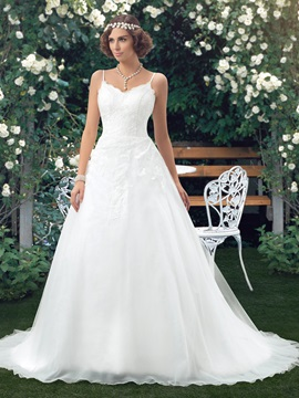 Floor Length A-Line Spaghetti Straps V-Neck Backless Wedding Dress & Wedding Dresses from china