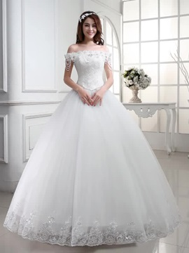 Floor Length Ball Gown Beaded Lace Off the Shoulder Wedding Dress & Wedding Dresses from china