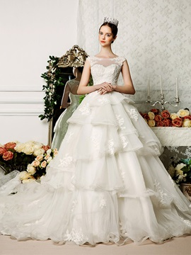 Floor Length A-Line Bateau Neck Tiered Ruffles Organza Open Back Wedding Dress & vintage style Wedding Dresses