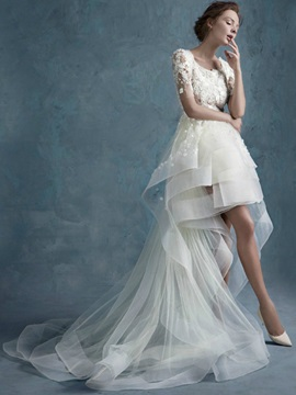 Floral Lace A-Line High Low Short Beach Wedding Dress & Wedding Dresses from china