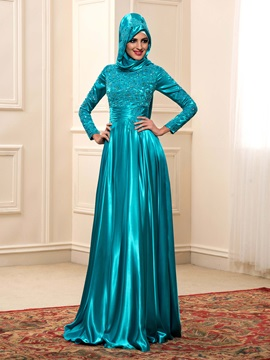 Floor Length A-Line High Neck Long Sleeve Color Muslim Wedding Dress