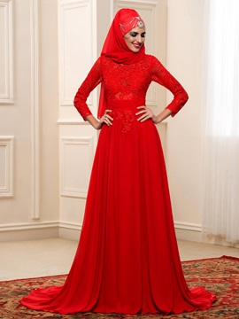 Red Lace Muslim Wedding Dress with Hijab