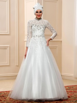 Beaded High Neck Long Sleeve Muslim Wedding Dress & Wedding Dresses under 100