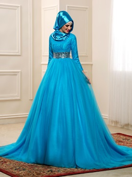 High Neck Lace Long Sleeve Beaded Waist Muslim Wedding Dress