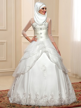 Ruched Beaded Bodice Sheer Long Sleeve Indian Wedding Dress & attractive Wedding Dresses