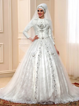 Beaded Lace Long Sleeve Muslim Wedding Dress with Long Train & Wedding Dresses under 300