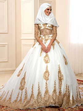 Lace Appliques Muslim Wedding Dress & vintage style Wedding Dresses