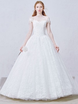 Lace-Up Floor-Length Off-The-Shoulder Lace Ball Gown Wedding Dress & Wedding Dresses from china